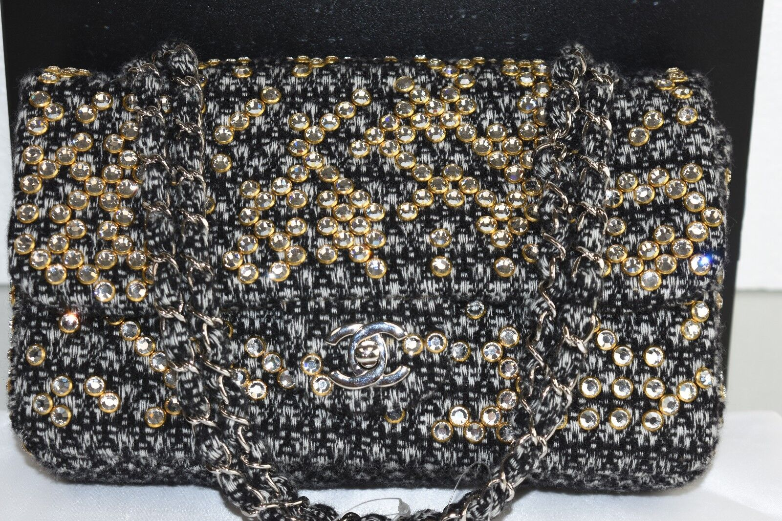 6K NEW CHANEL Classic Bag Flap Tweed Jeweled CRYSTAL STUDS CC Logo White Black