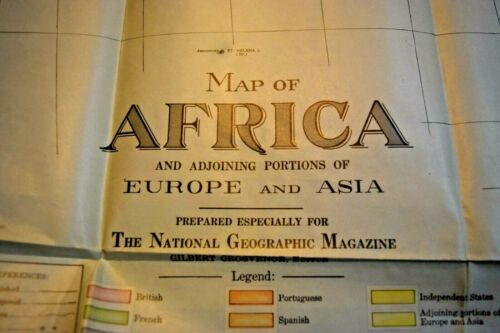 Vintage Africa Map, National Geographic Society, 1922