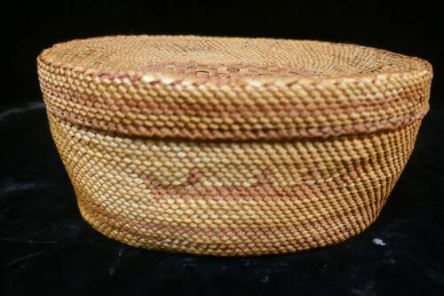 Vintage large Nootka Tribal  Woven Cabinet/Treasure Basket - Canoe design