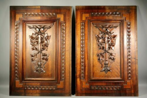Antique French Hand Carved Walnut Wood Relief Panel PAIR Pediment Salvaged