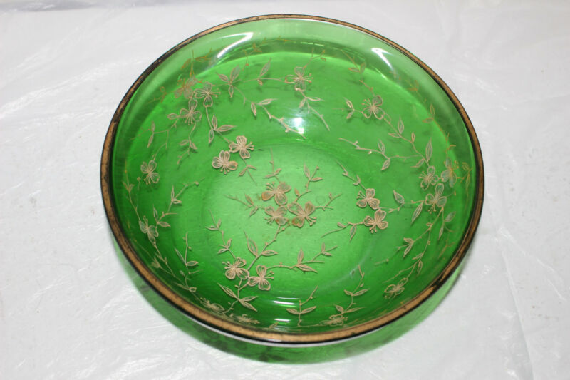 """ANTIQUE HAND PAINTED GREEN VICTORIAN GLASS 7-3/8"""" BOWL-GOLD"""