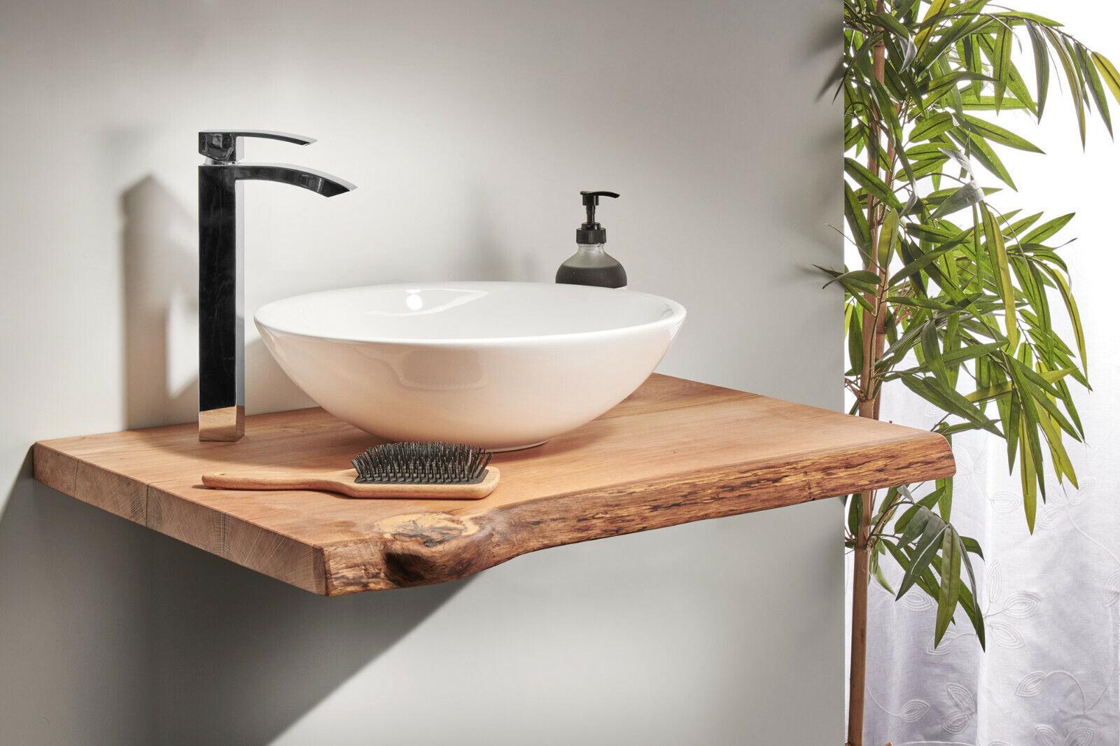 Waschtischplatte Waschtischkonsole Eiche Massiv Holz Aufsatzbecken Regal dunkel