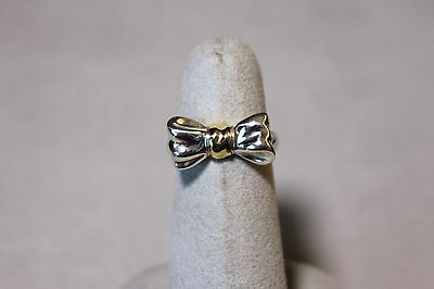 Tiffany Bow Ring (Tiffany & Co. Sterling Silver 14K Gold Bow  Ring size 5 Retired)