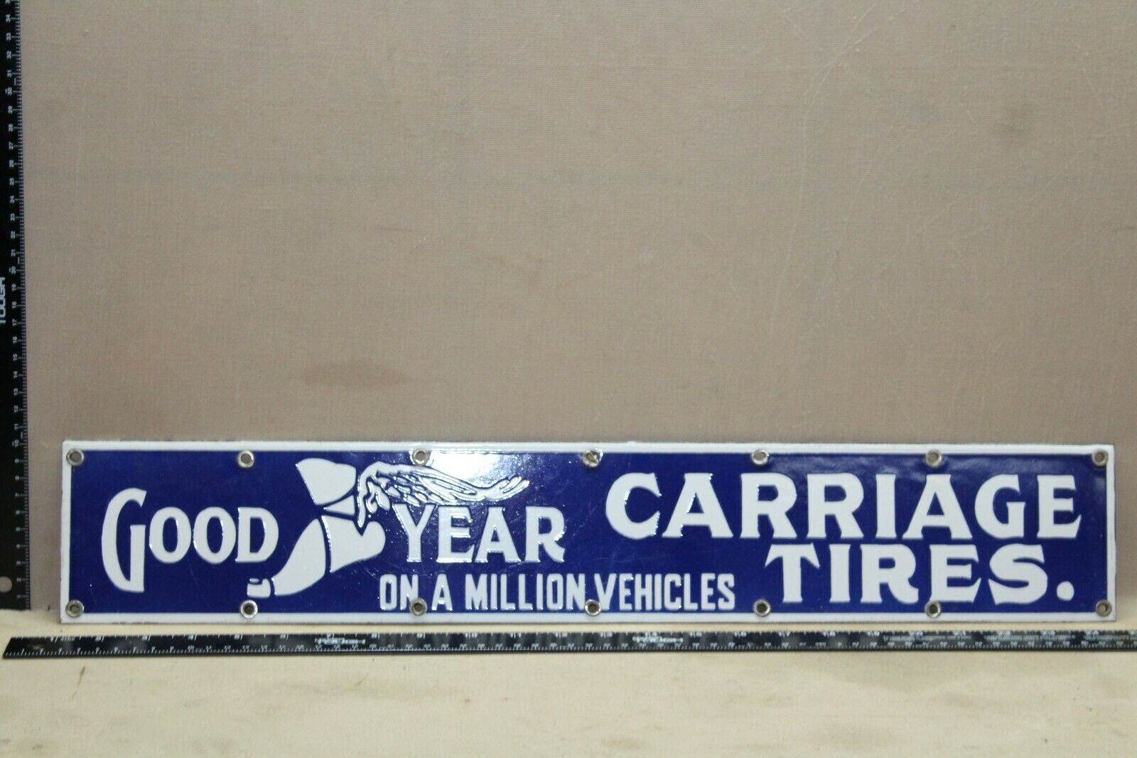 GOODYEAR CARRIAGE TIRES PORCELAIN METAL SIGN SERVICE GARAGE RUBBER OHIO GAS OIL - $0.99