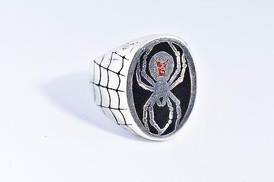 1980's Vintage Silver Bronze Size 8 Men's Inlay Black Widow Spider Ring