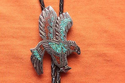 Vintage Hand Made Sterling Silver Turquoise Coral Inlay Eagle Western Bolo Tie