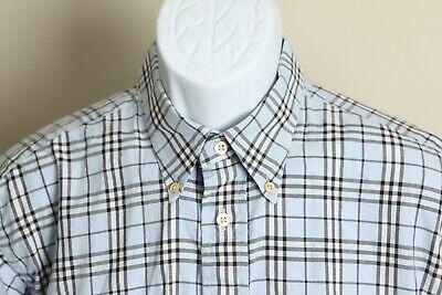 Burberry London Men's blue, black and white nova check long sleeve shirt Large L