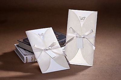 10x Elegant Wedding Invitation Card w/Envelop-Beige & White;Bulk Buy Disc. Apply