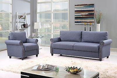 2 Piece Living Room Sofa & Armchair Trappings Set w/ Nailhead Trim - Blue