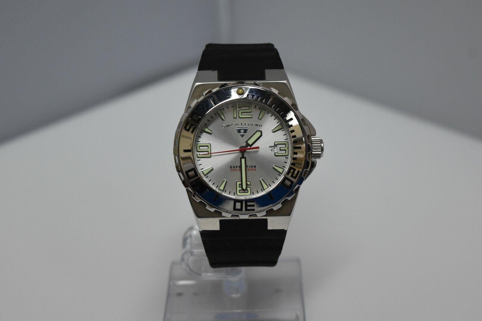 Swiss Legend Expedition Sapphitek 48mm 200M SL-10008 Watch Black/SS/Silver