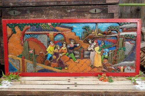 """Rare Vibrant Vintage Asian Hand Carved Wood Wall Art 35¾"""""""