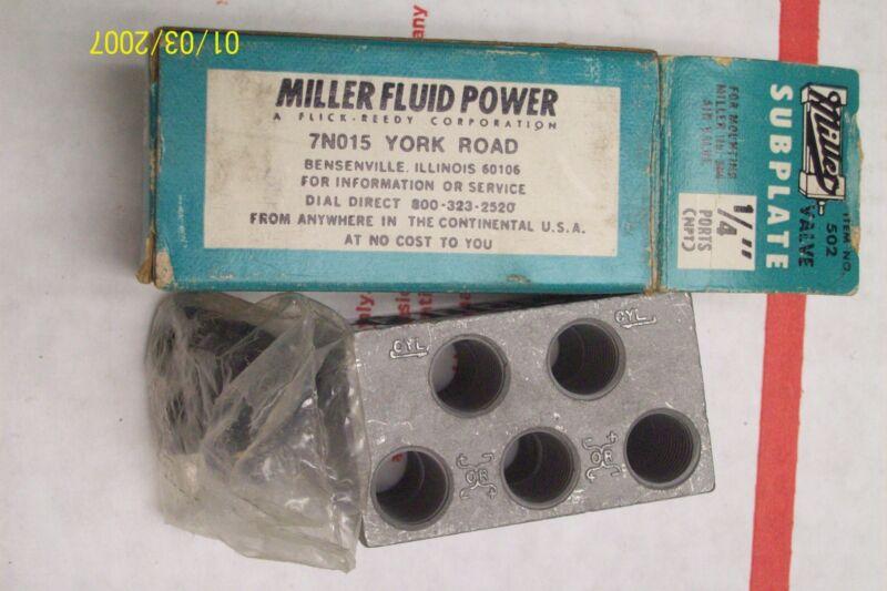"""*NEW* MILLER FLUID POWER VALVE SUBPLATE 1/4"""" NPT ITEM # 502"""