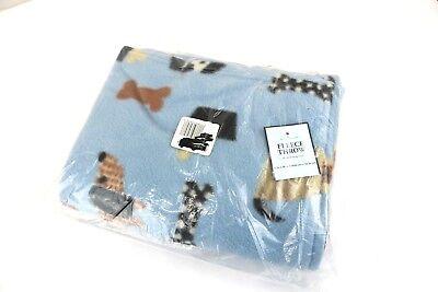 "Fleece dog themed blanket throw NIP home decor blue 46"" x 56"""