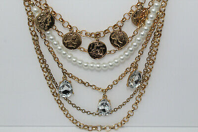 Beautiful Goldtone Multi-Strand Chain Coin & Rhinestone Drop Fashion Necklace (Multi Strand Coin)