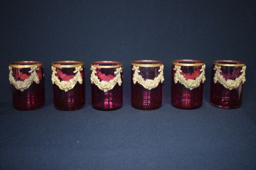 Antique French Ruby Red cocktail glass with gold rim and brass swag c1940
