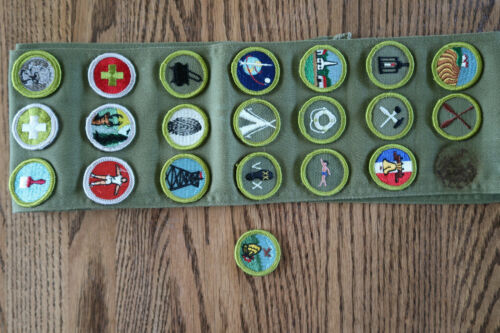 Boy Scouts Olive Green Sash with 21 Merit Badges