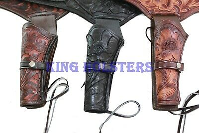 NEW 22 Cal Tooled Holster Gun Belt Drop Loop LEATHER Western RIG SASS Cowboy