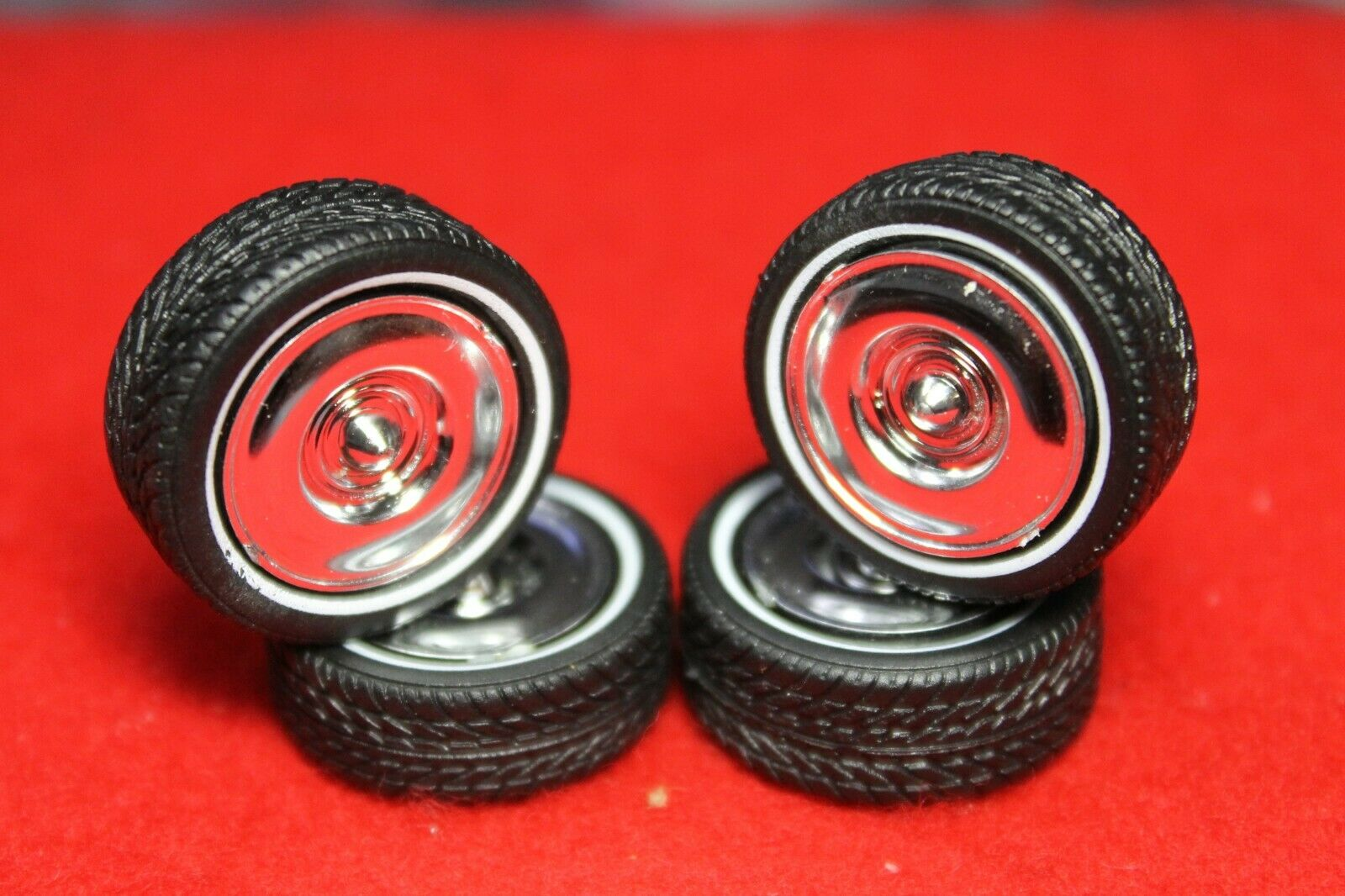Car Parts - model car parts (4 ) WIDE TRAC -LO PROFILE TIRES AND 4 BEAUTIFUL CHROME MAGS