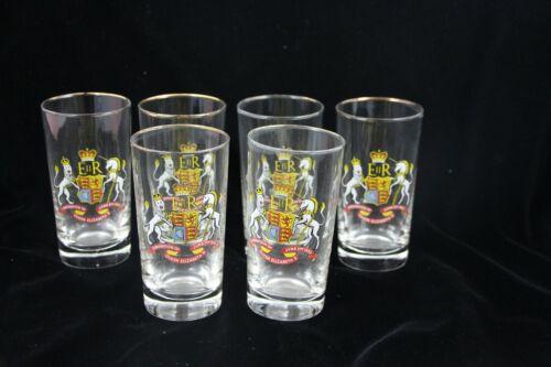 Vtg 1953 Queen Elizabeth II Coronation Souvenir Drinking Glasses Set of 6