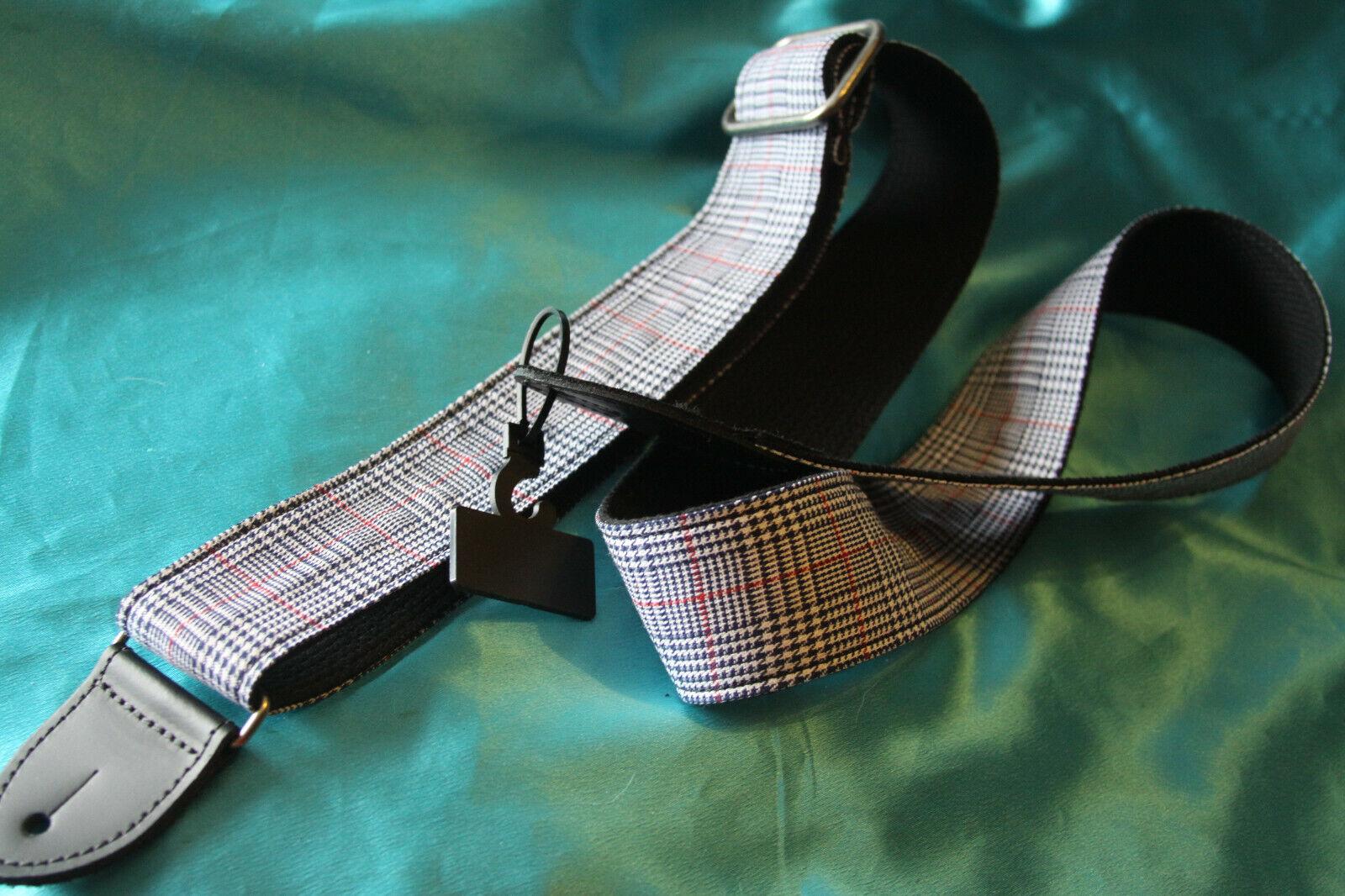 closeout 2 blue plaid cotton guitar strap