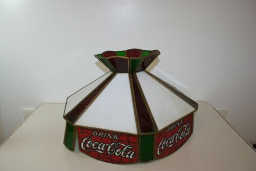 Vintage Drink COCA-COLA Leaded Glass Hanging Lamp Shade Light Stained Glass