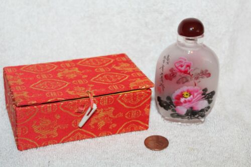 Vintage Oriental Asian Inverse Painted Snuff Perfume Bottle with Box Floral