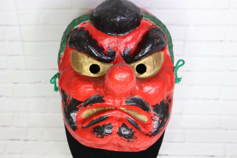 Vintage Japanese Tengu Mask Red Long Nose Oni Demon Devil Noh Kabuki Theatre