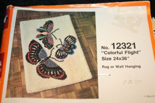 "Bucilla Canvas Rug Wall Hanging #12321 ""Colorful Flight"" Butterflies 24"" x 36"""