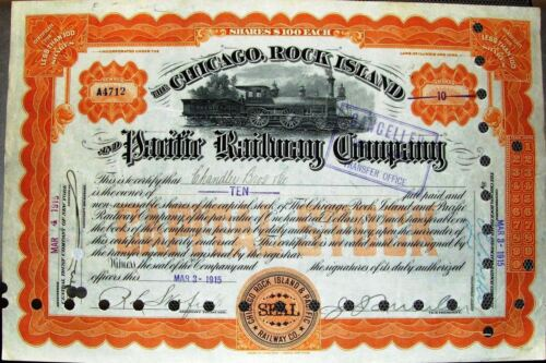 Chicago Rock Island & Pacific Railway Stock Certificate dated 1915