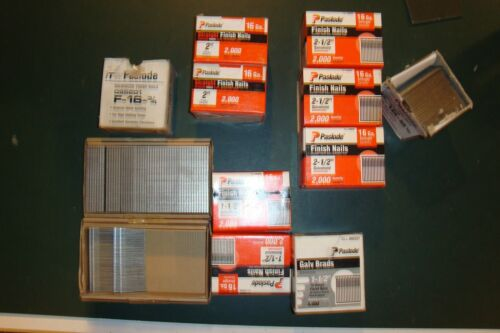 LOT OF ASSORTMENT SIZES OF PASLODE STRAIGHT TRIM NAILS