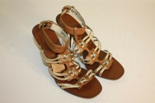Michael Kors Womens Ladies Brown Gold Strappy Ankle Sandals Heels Shoes Size 8M