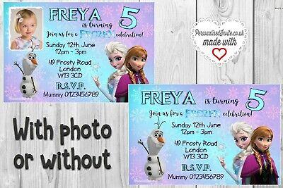 Personalised Frozen Invitations x 10. Disney themed birthday party decor](Frozen Theme Invitation)