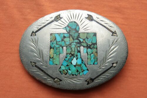 Vintage Dale Hand Made Turquoise Abalone Thunderbird Arrows Inlay Belt Buckle