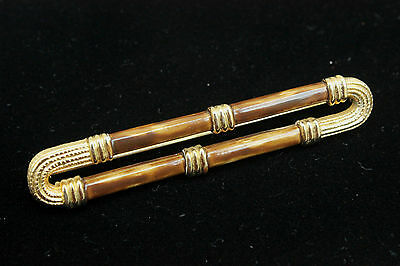 "Vintage 1970s GOLD Tone & Marbled Resin Bar BROOCH 3"" x 0.5"""