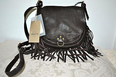 NWT $469 ABACO Paris FRINGE Goatskin Leather Small Shoulder Bag Dark Brown, usado segunda mano  North Palm Beach