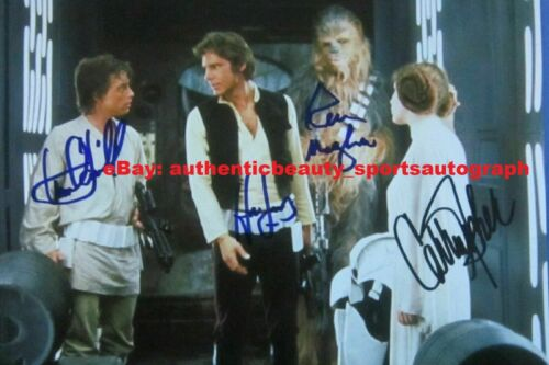 STAR WARS FORD FISHER HAMILL MAYHEW HANSOLO LEIA AUTO SIGNED 12x18 PHOTO REPRINT