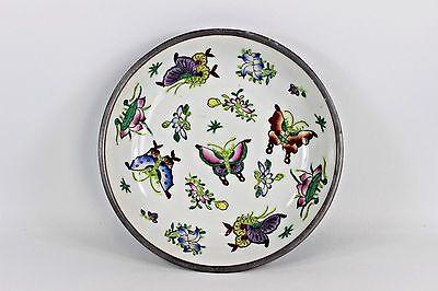 Vintage Japanese PorcelainWare Pewter Encased Bowl Hand Decorated w/Butterflies