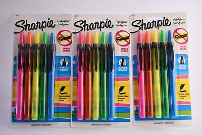 3 Sharpie Accent Smear Guard Non-toxic Retractable Highlighter Set Chisel-narrow