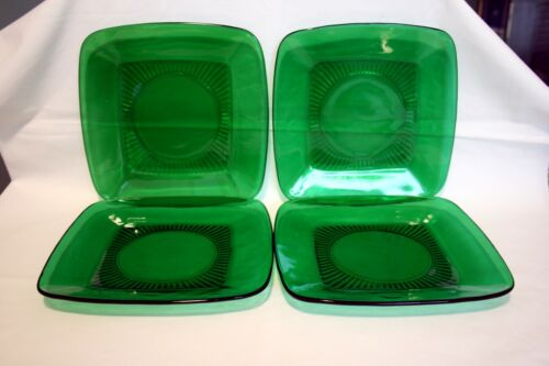 "Anchor Hocking Forest Green Charm Square 8 1/4"" Salad Luncheon Plates Set of 4"