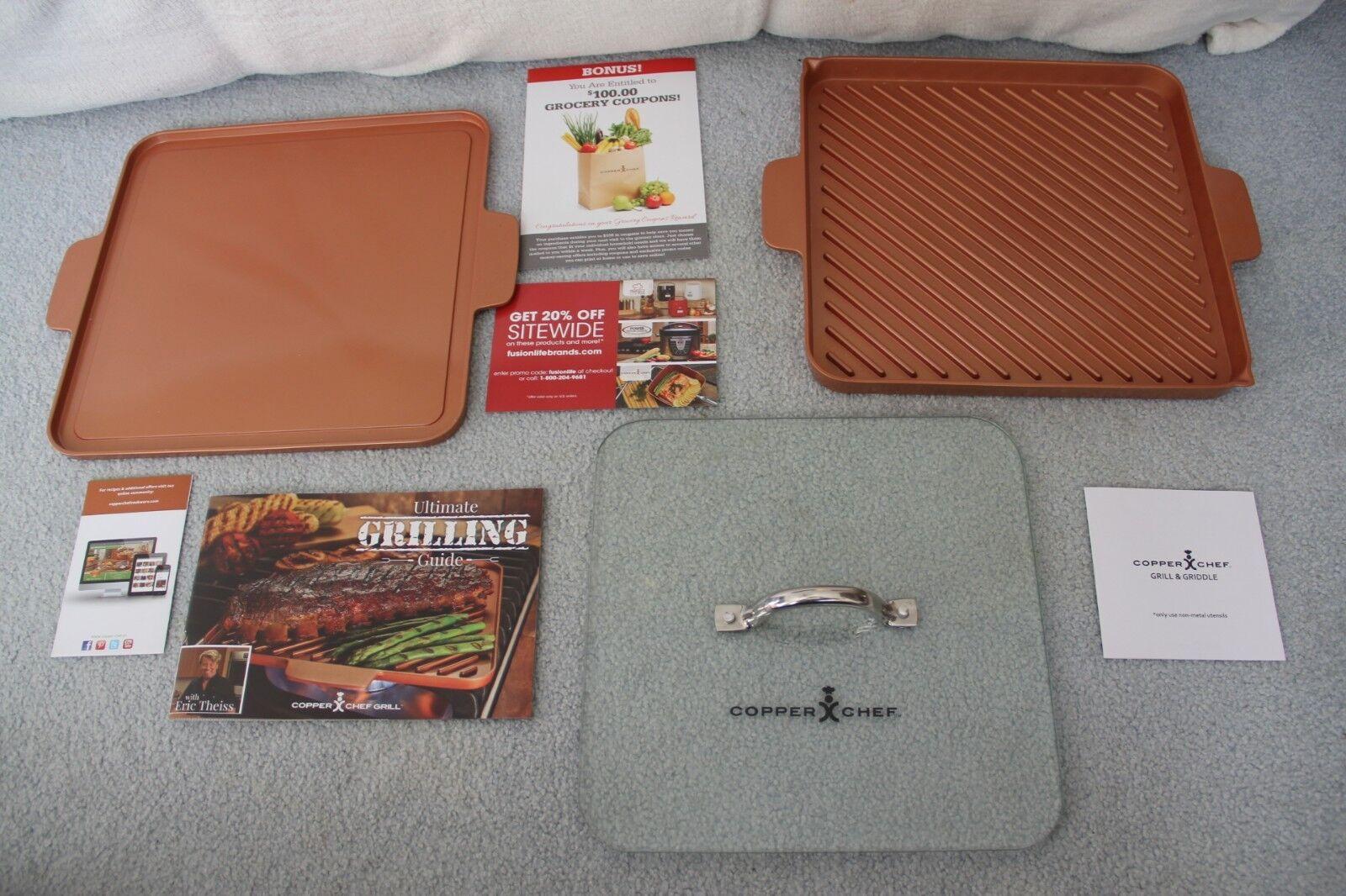 Copper Chef 12 Inch Grill and Griddle W/Glass Press & Ultima