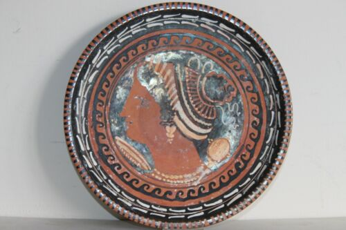 HIGH QUALITY ANCIENT GREEK POTTERY RED FIGURE PLATE 4th CENTURY BC