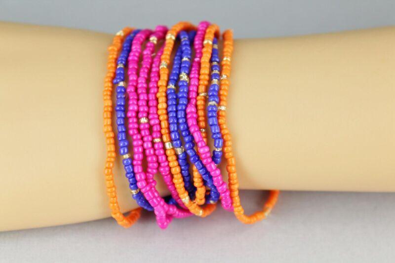 12 Pink Orange Blue bracelet kids childrens seed bead stretch set pack beaded