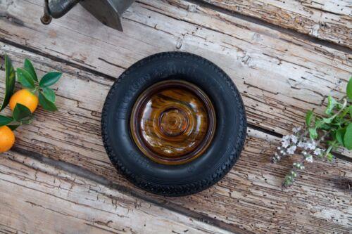 Vintage FIRESTONE BALLOON TIRE Ashtray Rare AMBER GLASS HUBCAP Design
