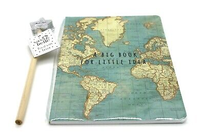 A BIG BOOK FOR LITTLE IDEA VINTAGE MAP A5 NOTEBOOK -  with pencil gift