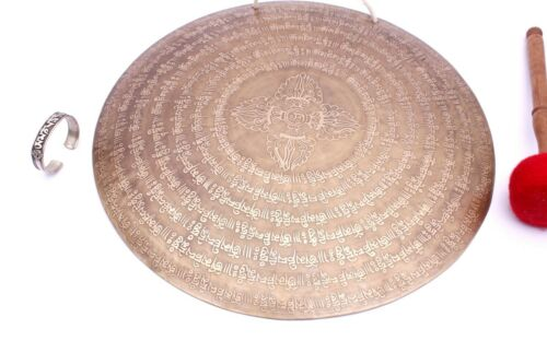 18 inches Diameter Tibetan gong from Nepal-Mantra carved master Healing gong