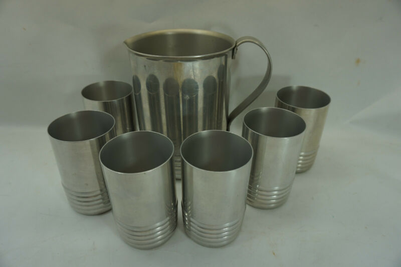 VINTAGE PITCHER AND GLASSES SET ALUMINUM ART DECO MID CENTURY MODERN 7 PC CUPS