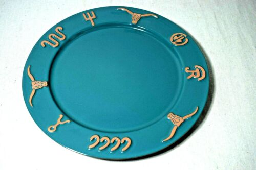"Frankoma Western Ranch Symbols Dinner Plate Green & Terracotta 10.5"" Across"