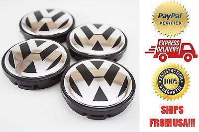 """Volkswagen VW 2.2"""" 1999-2010 GTI, Golf, Jetta, Beetle Center caps, set of 4"""