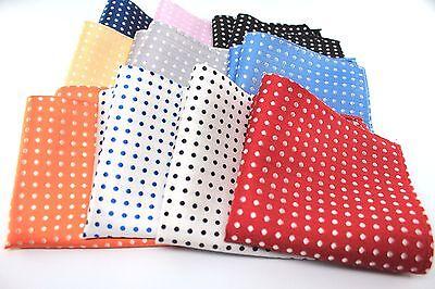 "New 10"" Inches 100% Silk Men's Pocket Square FREE SHIPPING US Polka Dot"