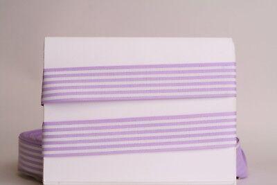 White Stripe Grosgrain (LT ORCHID White Stripes 1
